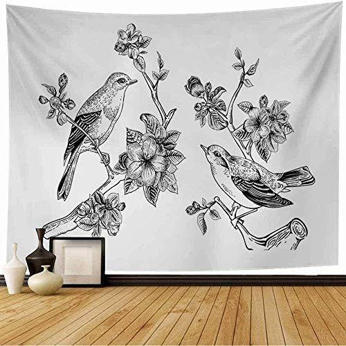Tapiz de Pared Tapestry Saludo Jardín Vintage Dibujo Clásico Elegante Primavera Amor Aves Gráfico sobre la naturaleza Vegetación Wall Hanging 80X60inch