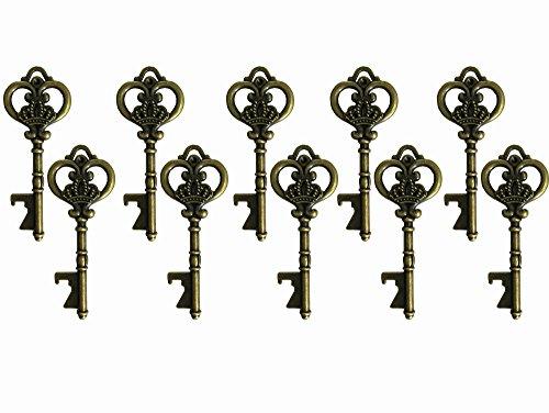 20PCS Skelett Schlüssel, Hochzeit für Gäste Partyzubehör Gastgeschenken Rustikal Vintage-Schlüssel Flaschenöffner, antik Partyzubehör Rustikal Dekoration A4294-Bronze