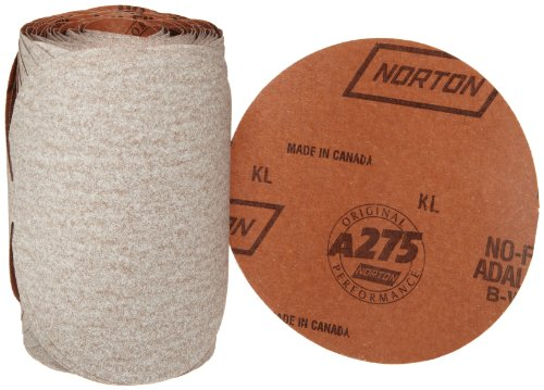 Norton A275 No-Fil Adalox Paper Abrasive Disc, Fiber Backing, Pressure-Sensitive Adhesive, Aluminium Oxide, 6
