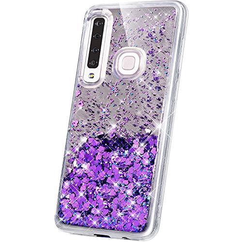 JAWSEU Compatible avec Samsung Galaxy A9 2018 Coque Miroir Silicone,Liquide Paillette Brillant Bling Glitter Miroir Transparente Slim Souple Gel Case Femme Fille pour Galaxy A9 2018,Violet