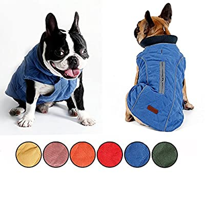 AIWOKE Pet Winter Dog Coat cotton Clothing Puppy Jacket Reversible Cold Weather Keep Warm Vest for Small Medium Large Dogs Sweater XS-XXXL (L, Blue)