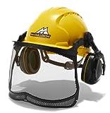 Universal 00057-76.165.16 Semi-Pro PRO016 Casco con protección auditiva y Visual, Ajuste con una Mano Posible, Gris/Amarillo