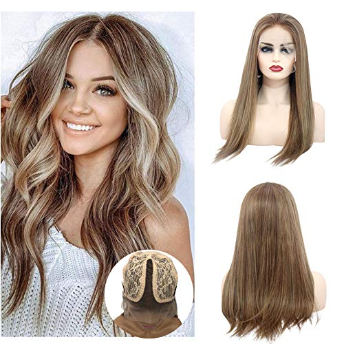 Ombre Blonde Human Hair Wigs Lace Front T Part Wigs Pre Plucked With Baby Hair Balayage Bleached Knots Glueless 150% Density Remy Straight Hair Wig For Women (16 inches)