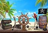 YongFoto 2,2x1,5m Vinyle Photographie Toile de Fond Table en Bois Pirate Roue de Navire Carte au trésor Rhum Boussole Couteau Palmier Plage Fond de Studio Photo vidéo Photo Shooting Accessoires