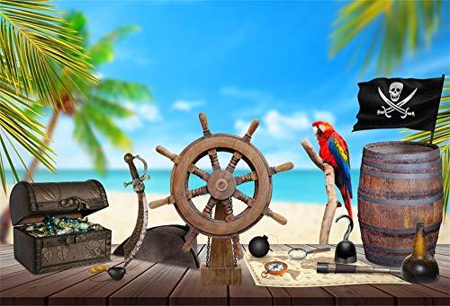 YongFoto 3x2m Vinilo Fondo de fotografía Mesa de Madera Pirata Rueda de la Nave Mapa del Tesoro Ron Brújula Cuchillo Palmera Playa Telón de Fondo de Fotografía Estudio de Foto Studio Props