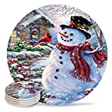 4 Piece Ceramic Drink Coasters Absorbent Stone Coaster Set,Merry Christmas Theme Cute Colorful Snowman Table Centerpieces Home Decor With Cork Backing,Suitable for Kinds of Cups and Mugs