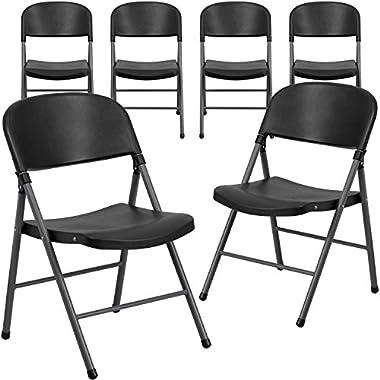 Flash Furniture 6 Pk. HERCULES Series 330 lb. Capacity Black Plastic Folding Chair with Charcoal Frame