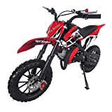 SYX MOTO Kids Mini Dirt Bike Gas Power 2-Stroke 50cc Motorcycle Holeshot Off Road Motorcycle Holeshot Pit Bike, Fully Automatic Transmission, Red