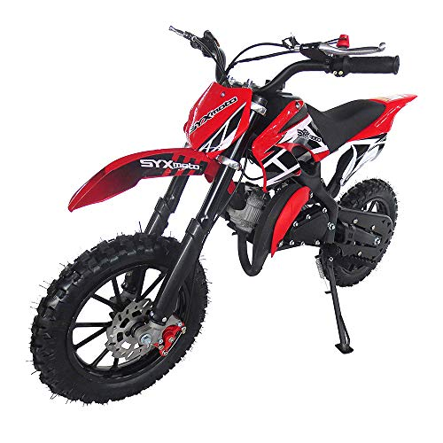 SYX MOTO Kids Dirt Bike Holeshot 50cc Gas Power Mini Dirt Bike Pit Bike Fully Automatic Transmission (Red 2021, Year 2021)