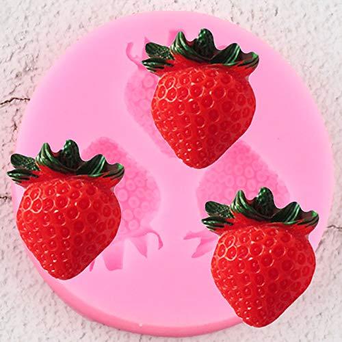 YCHH 3D Fruta Fresa Moldes de Silicona Magdalena Topper Fondant Torta Decoración Herramientas Jabón Resina Clay Candy Chocolate Gumpaste Moldes