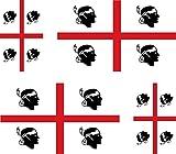 Set di 4 Adesivi per Auto e Moto, Motivo: Bandiera della Sardegna