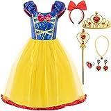 Funna Girls Elastic Waist Dress for Snow White Princess Costume, 5T