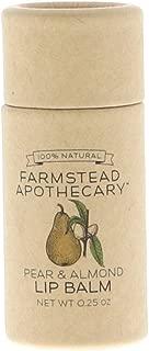 Farmstead Apothecary 100% Natural Lip Balm with Organic Beeswax, Organic Shea Butter & Organic Coconut Oil, Pear & Almond 0.25 oz