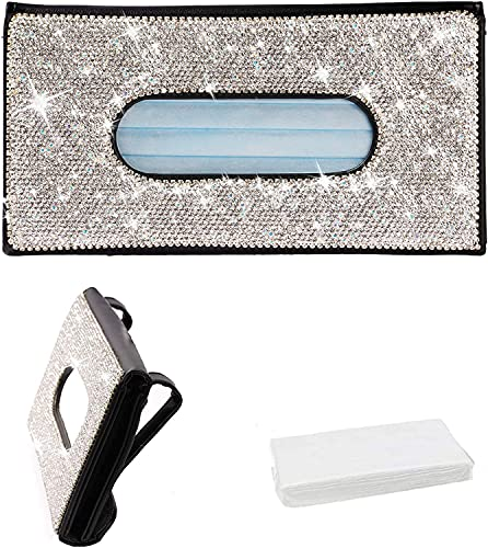 Bling Voiture Sun Visor Tissu Net d'eau Porte-boîte, Distributeur de masque de scintillons en strass pour voiture, Crystal Sparkling voiture Accessoires d'intérieur Cadeau pour femme ( Color : Black )