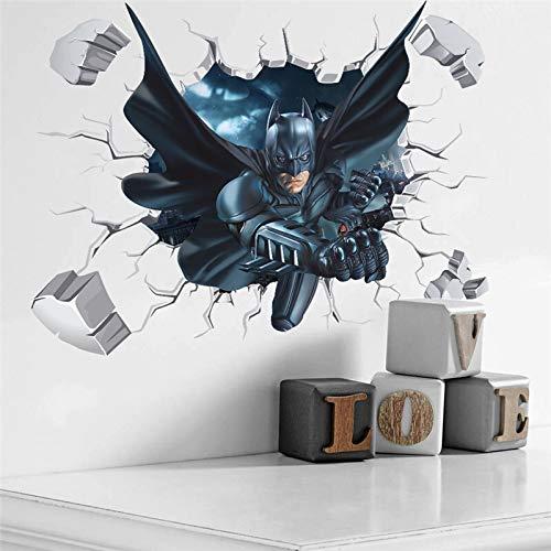 ZFDM Stickers muraux 3D Effet cassé Batman pour chambre d'enfant Décoration de maison en PVC