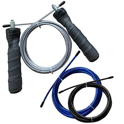 AMRAP Fitness Springseil Mit 3 Litzen, Speed Rope, Schnell Rotierende Kugellager Und Ergonomischen Griffen