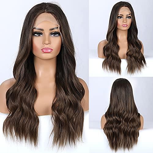 EMMOR Braun Lace Front Perücken für Frauen, Natural Soft Wave Hair Perücke Mittelteil, Leicht / Atmungsaktiv / Langlebig