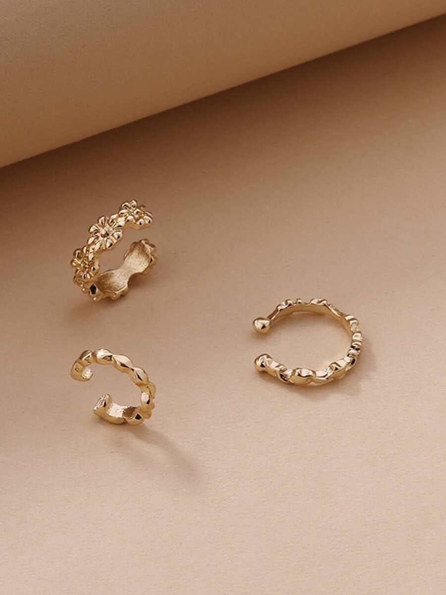 Hoop Earrings 3pcs Metal Ear Cuff (Color : Gold)