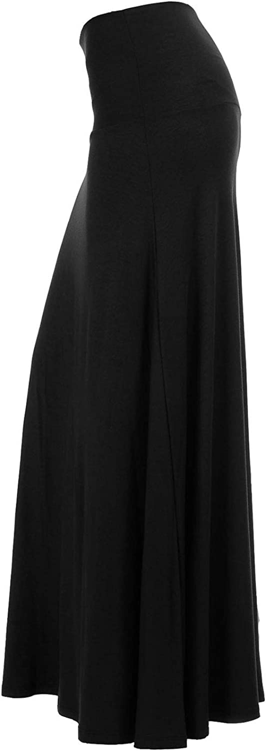 CB Womens Basic Foldable Waist Maxi Skirts Regular and Plus Size - Made in USA