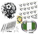 HHO Fußball Deko-Set Geburtstag Girlande + Luftballons + Kerzen + Einladungskarten für 8 Fußballfans