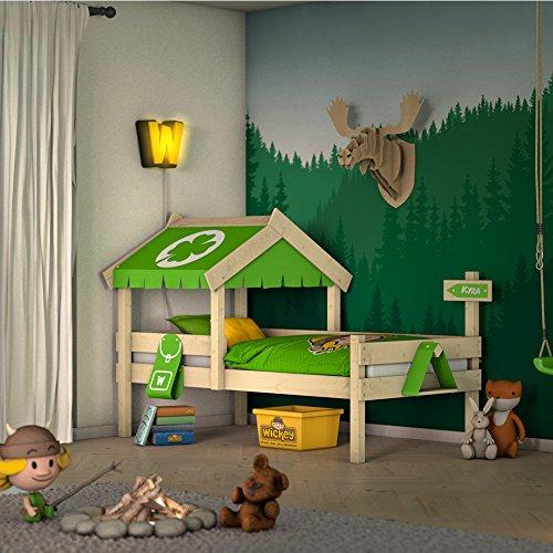 WICKEY Kinderbett CrAzY Buddy Einzelbett 90x200 Abenteuerbett mit Dach und Lattenboden, apfelgrün