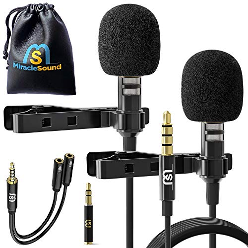 2-Pack Professional Lavalier Microphone for Bloggers and Vloggers - Lapel Mic Set for Dual Interview - Clip-on Omnidirectional Condenser for iPhone Ipad Samsung Android Windows Smartphones