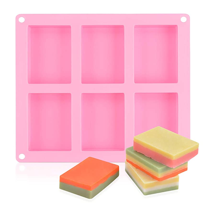 SJ 6-Cavity Rectangle Silicone Mold for Soap, Bread, Loaf, Muffin, Brownie, Cornbread, Cheesecake, Pudding, and More, Pack of 1