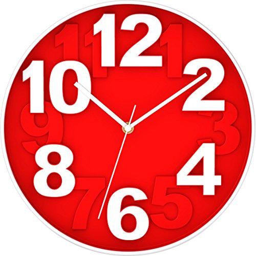BUVU ZH09755C Reloj de Pared, Rojo, 30 x 30 x 4 cm