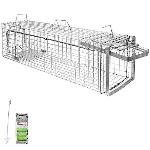 Holtaz Hardy 120x34x34 cm 1 Porta Gabbia Trappola in Metallo per Catturare Animali Vivi. con Extra Un Esca.