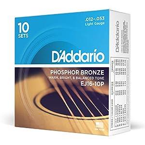 Juego de cuerdas para guitarra acústica Hechas de material de bronce de fósforo Producen un tono acústico cálido, brillante y buen equilibrado Tamaño: .012-.053