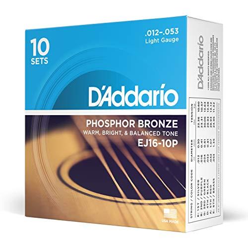 D'Addario EJ16-10P - Juego de cuerdas para guitarra acústica de fósforo/bronce.012 - .053