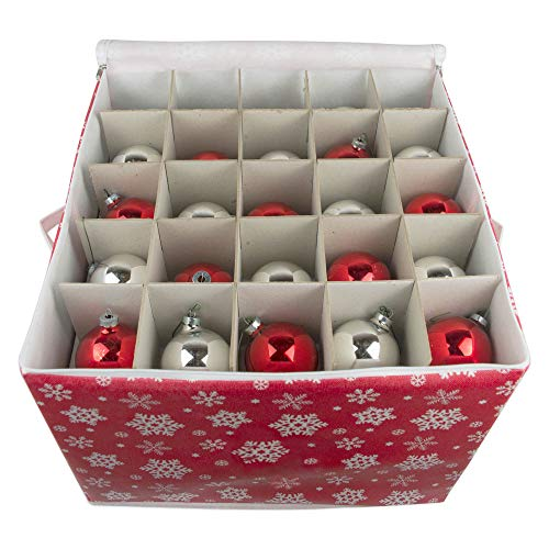 DII Holiday Ornament Storage Bin with Dividers & Separators to Protect Fragile Christmas Tree Decorations (Holds 75 Ball Decorations) - Snowflake, Large