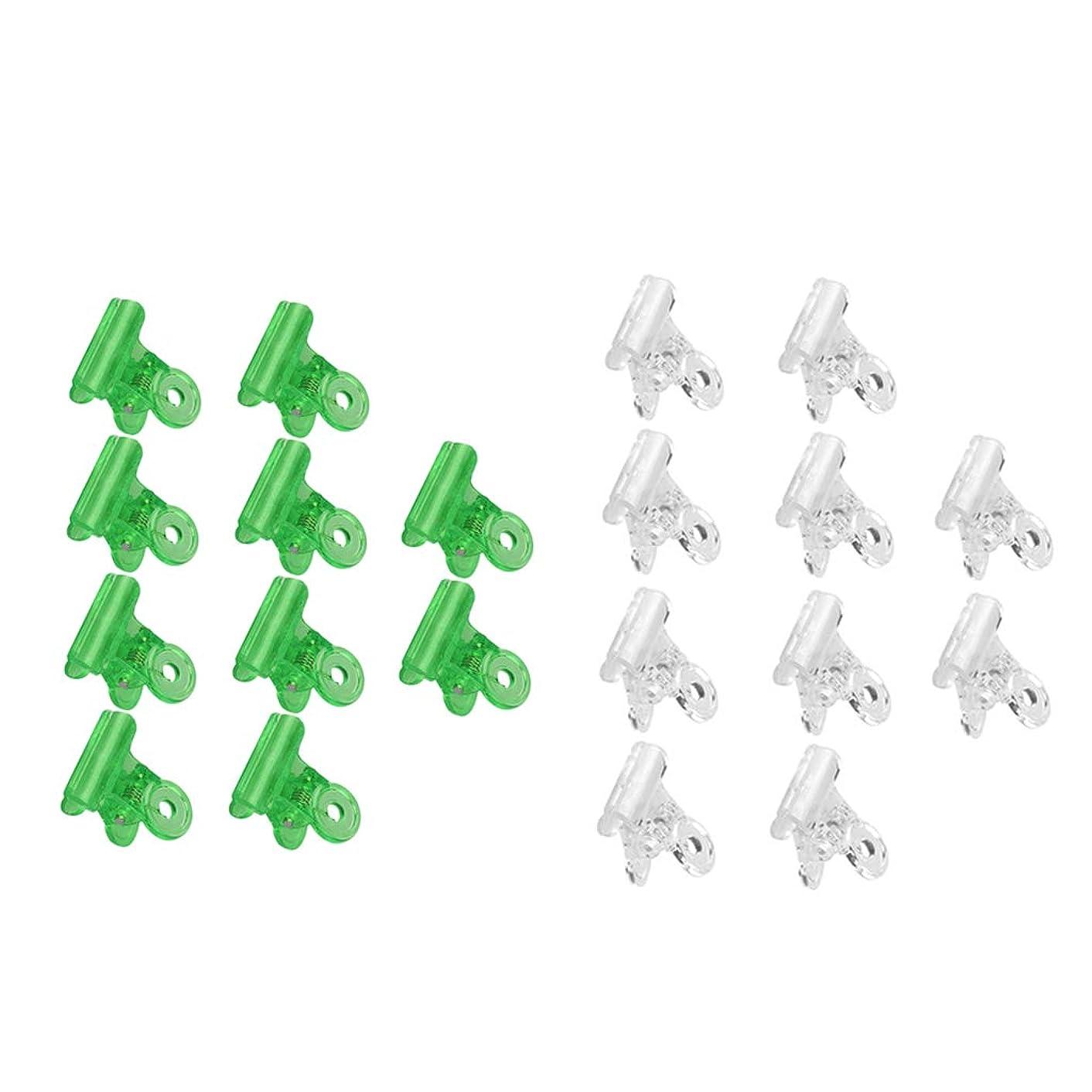 ロール頭痛副産物Perfeclan ネイルクリップ オフ ジェルネイルポリッシュ クリーナークリップ 再利用可能 20個セット 全3種 - グリーン+クリア