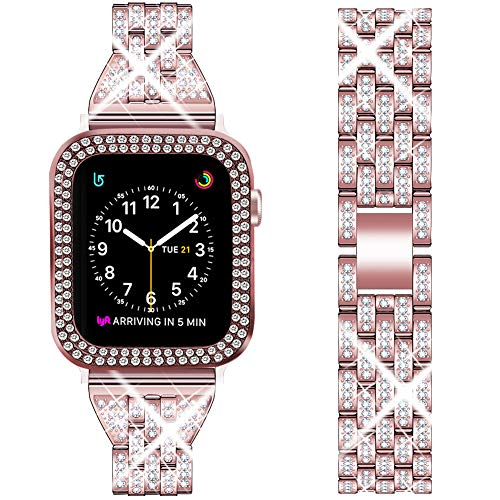 DSYTOM Compatible Apple Watch Band 38mm with Case Women,Slim Rhinestone Metal Jewelry Wristband Strap with Bling PC Protective Case Replacement for iWatch Series 3 2 1(Rose pink)