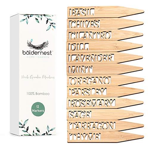 Boldernest Bamboo Herb Garden Markers - Set of 12 Beautiful Herb Garden Labels - Sturdy Herb Markers for Outdoor Garden or Potted Herbs - Lovely Herb Garden Signs