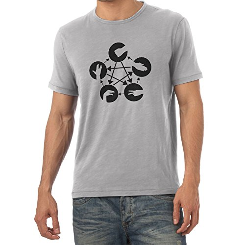 Texlab Herren TBBT: Schere Stein Papier Echse Spock T-Shirt, Grau Meliert, L