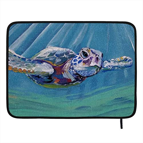 Dish Drying Mat for Kitchen,Absorbent Drying Pad Dishes Drainer Mats Pot Holder 18×16in Sea Turtle