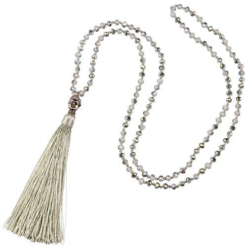 C·QUAN CHI Collier Perle Multicolores Dainty Longue Collier Pendentif Bouddha De Pompon Femme Collier Cristal De Bohème