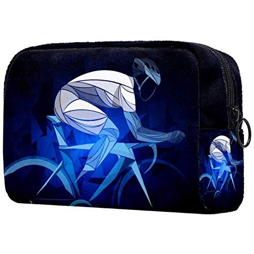 Portátil Bolsa Cosmetica Ejercicio en Bicicleta Bolsa de Neceser Bolso de Organizador Maquillaje en Viaje Almacenamiento de Maquillaje Cosmético Neceseres de Viaje 18.5x7.5x13cm