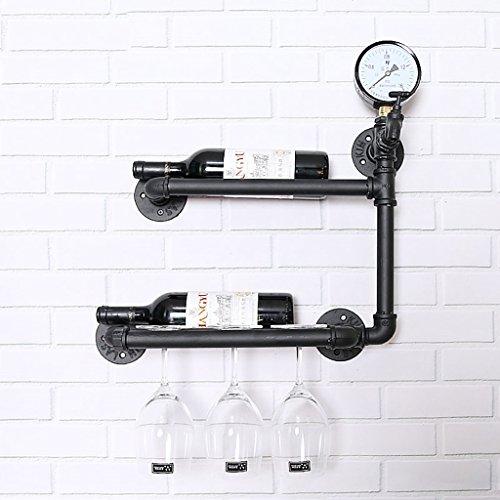 Ldwxxx Botellero estilo tubo de agua de hierro forjado para colgar en la pared, estante de vino/marco decorativo para restaurante