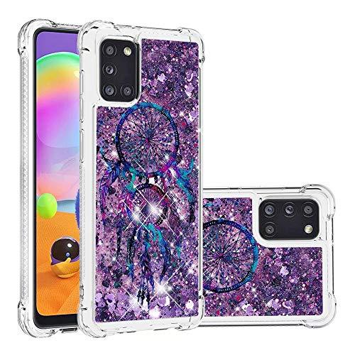 Miagon Flüssig Hülle für Samsung Galaxy A31,Glitzer Weich Treibsand Handyhülle Glitter Quicksand Silikon TPU Bumper Schutzhülle Case Cover-Lila Traumfänger