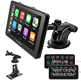 APHQUA 7 Inch Full HD Capacitive Touchscreen Car Stereo with Apple Carplay and Android Auto, Multimedia Player with Bluetooth, Mirror Link, Google, and Siri Assistant, Dash or Windshield Mounted