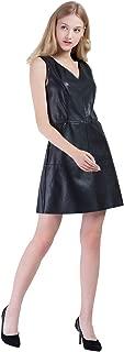 Women's PU Faux Leather V-Neck Sleeveless Mini Shift Dress with Pocket