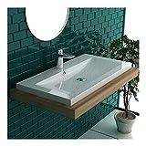 Garda Aufsatzwaschbecken 90 x 48 cm aus hochwertigem Mineralguss mit Überlauf | Handwaschbecken...