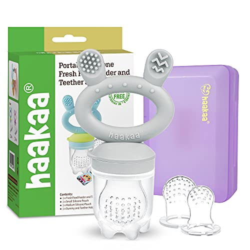Baby Fruit Food Feeder Pacifier - haakaa Silicone Feeder and Teether All in One,BPA Free Teething Relief Toy with Teether Clip&Travel Case (Slate Grey)