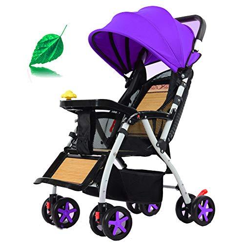 HBIAO Buggy mit klappbar Neuer geländegängiger Kinderwagen mit Verstellbarer Markise, Ablagekorb, Hängerad,Purple