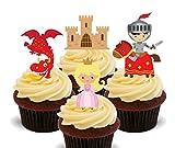 Made4You Décorations de gâteaux comestibles sur le thème des contes de fées : Chevaliers, princesses, dragons et châteaux - Pour goûter d'enfants, Pack of 12