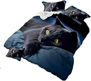 4Piece Dark Night Black Cat 3D Bedding Set Animal Prints Duvet Cover Set Queen Size Comforter Cover