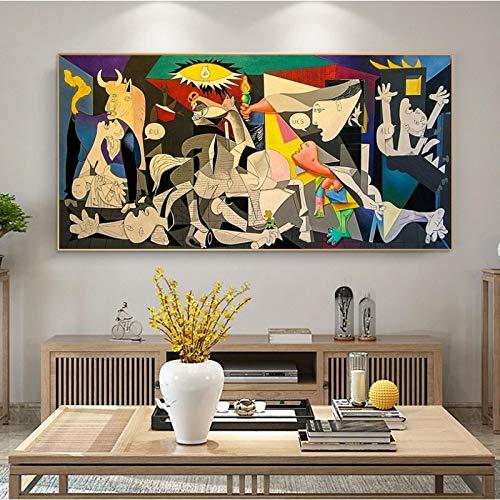 Pinturas de lienzo de Guernica de Picasso, carteles e impresiones de arte de pared de lienzo famoso, cuadros de Picasso, decoración de la habitación del hogar, regalo 70x140cm sin marco