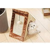 折り畳み式の猫引っかきおもちゃで2 1キャットスクラッチボードインポストトライアングル猫の洞窟テントプレイハウス (Color : Brown, Size : L)